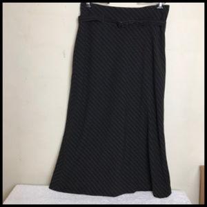 NWOT Pinstripe Flare Belted  w Pleat Long Skirt